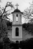 Vintage ortodox church. In bulgarian mountain village. Black and white Royalty Free Stock Image