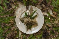 Vintage ou arrangement rustique de table de Noël Vue supérieure Image libre de droits