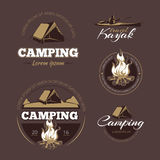 Vintage outdoor adventure and camping vector color labels set Stock Photo