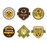 Vintage Outdoor Camp Badges and Logo Emblems Stock Photography