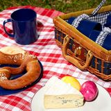 Vintage outdoor picnic. Picnic cloth with basket and food on it Stock Images