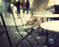Vintage outdoors tables Royalty Free Stock Image