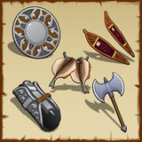 Vintage outfit of a medieval warrior, five items Stock Photography
