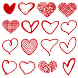 Vintage outline hand drawn sketchy vector hearts. Form heart with pattern lattice, scribble stylized romantic hearts collection illutstration Royalty Free Stock Photo