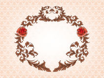 Vintage oval frame with brown leaves and red roses Stock Images