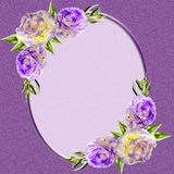 Vintage oval frame decorated with purple eustoma flowers Stock Photo