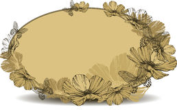 Vintage oval frame with flowers and butterflies. Vector illustra Stock Photography