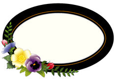 Vintage Oval Frame with Pansies & Roses. Traditional black and gold Victorian frame with pansies, roses & ivy, copy space for text. Use as a tag, card, label or Royalty Free Stock Photography