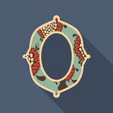 Vintage oval photo frame with colorful magic flowers. Royalty Free Stock Image