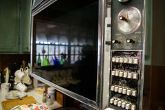 Vintage Oven Door Old Dials and Buttons Royalty Free Stock Photos