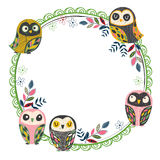 Vintage owl frame layout 2 Royalty Free Stock Images