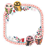 Vintage owl frame layout 1 Royalty Free Stock Photos