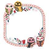 Vintage owl frame layout 1 stock illustration