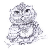 Vintage Owl Hand-drawn Illustration Stock Images