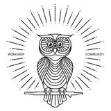 Vintage owl label in line art style. Vector logo Stock Photos