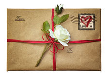 Vintage package with a rose Stock Photo