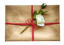 Vintage package with a rose Royalty Free Stock Photography