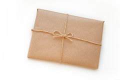 Vintage package tied up isolated on a white background Royalty Free Stock Photography