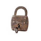 Vintage padlock with key . hanging lock macro view Stock Images