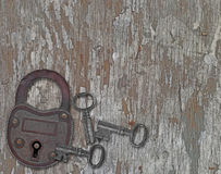 Vintage padlock on a old wooden panel Royalty Free Stock Photo