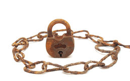 Vintage padlock and very old chain Stock Photos