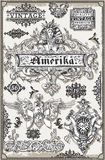 Vintage Page Hand Drawn American Banners and Labels Royalty Free Stock Photography