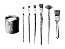 Vintage paint brushes set and paint can hand drawing clip art is. Olated on white background stock illustration