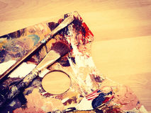 Vintage Paintbrush on Palette Stock Photography