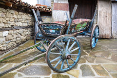 Vintage painted wooden cart in village of Zheravna, Bulgaria.  Royalty Free Stock Photo