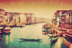 Vintage painting of Venice, Italy. Gondola floats on Grand Canal Royalty Free Stock Photos
