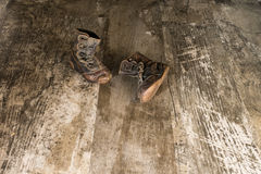 Vintage Pair Of 1940's Era Toddler Boots Royalty Free Stock Images