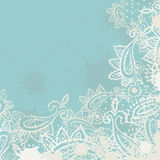 Vintage paisley elements greeting card [Converted]. Vintage hand painted textured paisley elements greeting card in turquoise and milk tones. vector illustration Stock Photography