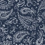 Vintage paisley ornament - seamless pattern. Grunge texture. Whi Royalty Free Stock Photography
