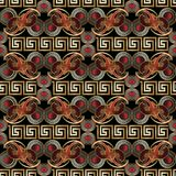 Vintage paisley seamless pattern. Bright black red gold floral. Vintage paisley seamless pattern. Bright black red gold floral background. 3d paisley flowers Stock Photography