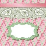 Vintage Paisley Strip lace and tartan.Design templ Stock Photos