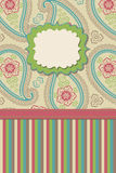 Vintage Paisley and strips.Design template or artw Stock Photography