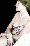 VINTAGE Pale wonder. Charming pale lady in retro style Royalty Free Stock Photography