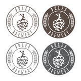 Vintage paleo brewery vector labels with hop and ancient. Hunters Stock Images