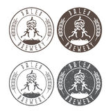 Vintage paleo brewery vector labels with hop and ancient Stock Photos