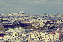 Vintage panorama and aerial view from Eiffel tower in Paris, Fra Stock Image