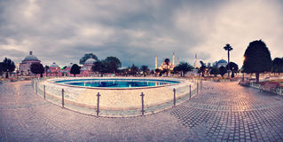 Vintage panorama of Sultanahmet Blue Mosque Royalty Free Stock Image