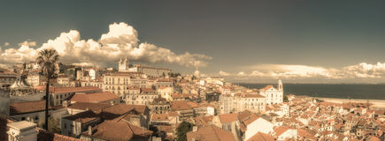 Vintage panoramic image of central Lisbon, Portugal Royalty Free Stock Photos