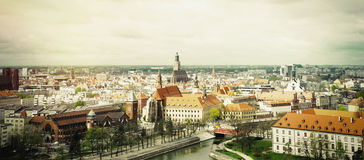 Vintage panoramic view of the old city of Wroclaw in Poland Stock Images