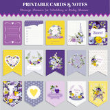 Vintage Pansy Flowers Card Set Stock Image