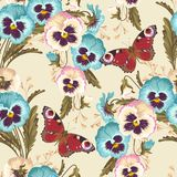 Vintage pansy seamless Stock Image