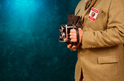 Vintage paparazzi photograher Royalty Free Stock Photo