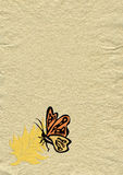 Vintage paper. With leaf and butterfly decoration Stock Photos