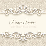 Vintage paper background. Vintage background with paper border decoration, ornamental frame template Stock Photography