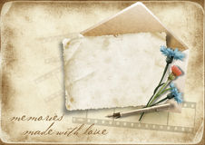 Vintage paper background with old card and cornflo Stock Photo