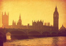London. Vintage paper. Buildings of Parliament with Big Ben tower. London,  UK Stock Photos
